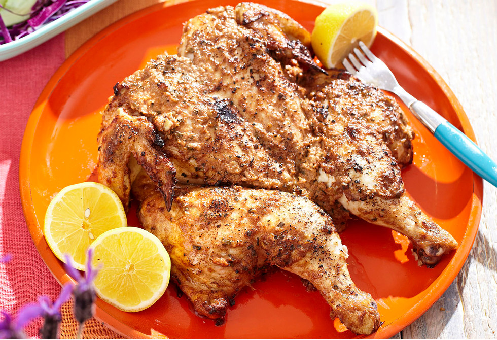 Marinated butterflied chicken