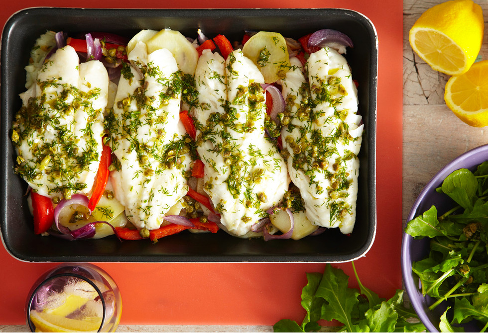 Baked perch with lemon caper dressing
