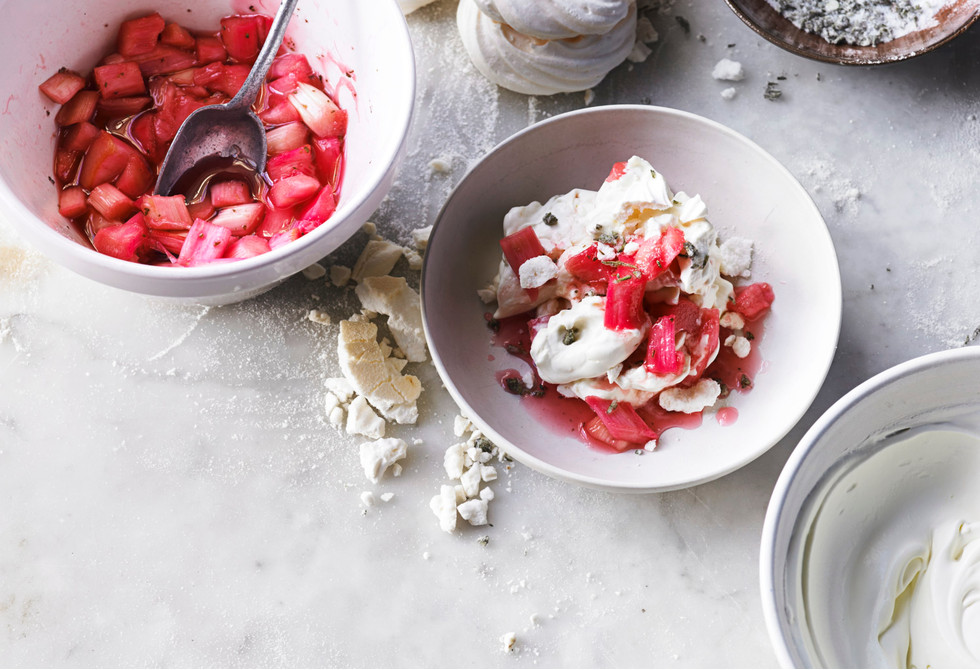 Rhubarb mess with candied rosemary