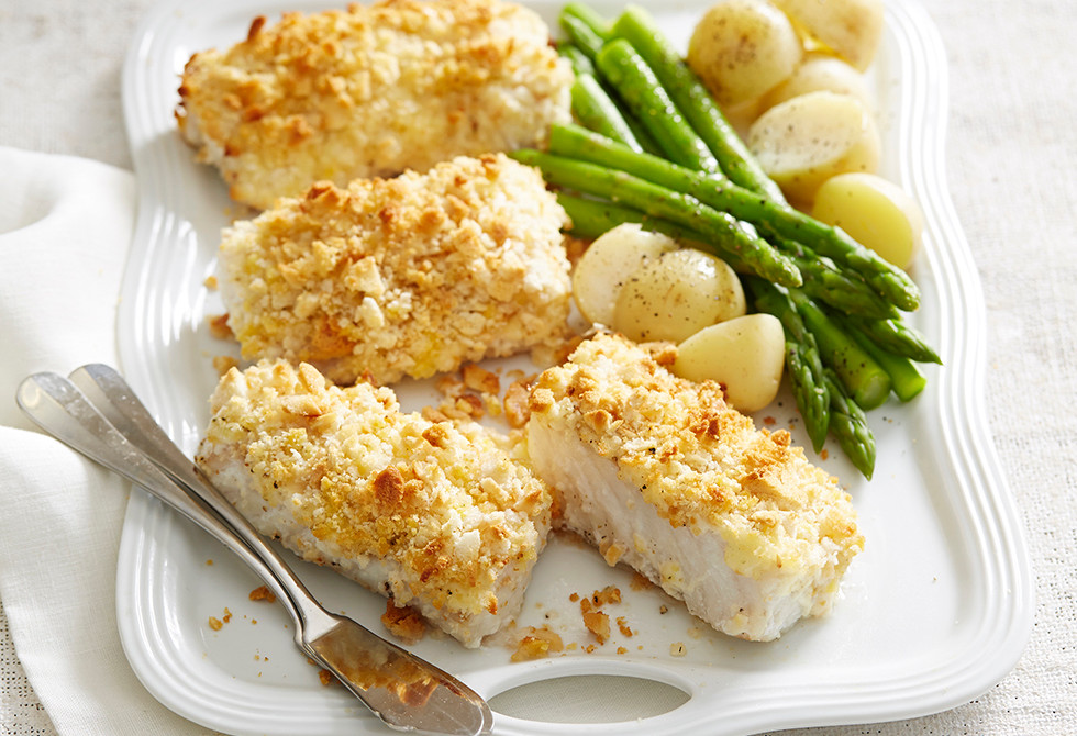 Crunchy fish fillets with asparagus recipe foodiful for Fish and asparagus