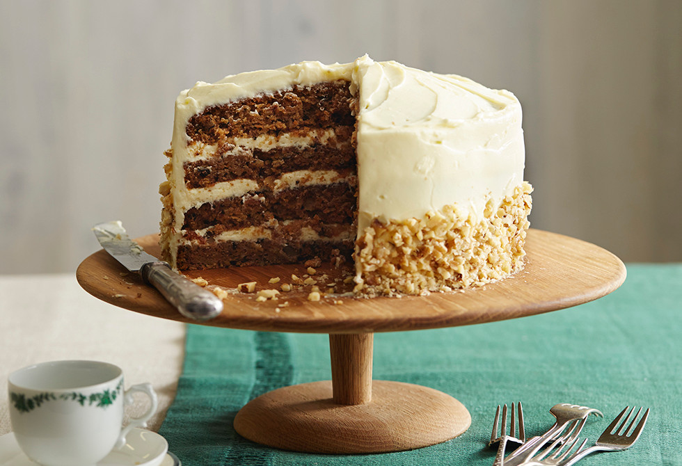 Carrot & walnut layer cake with choc cream icing
