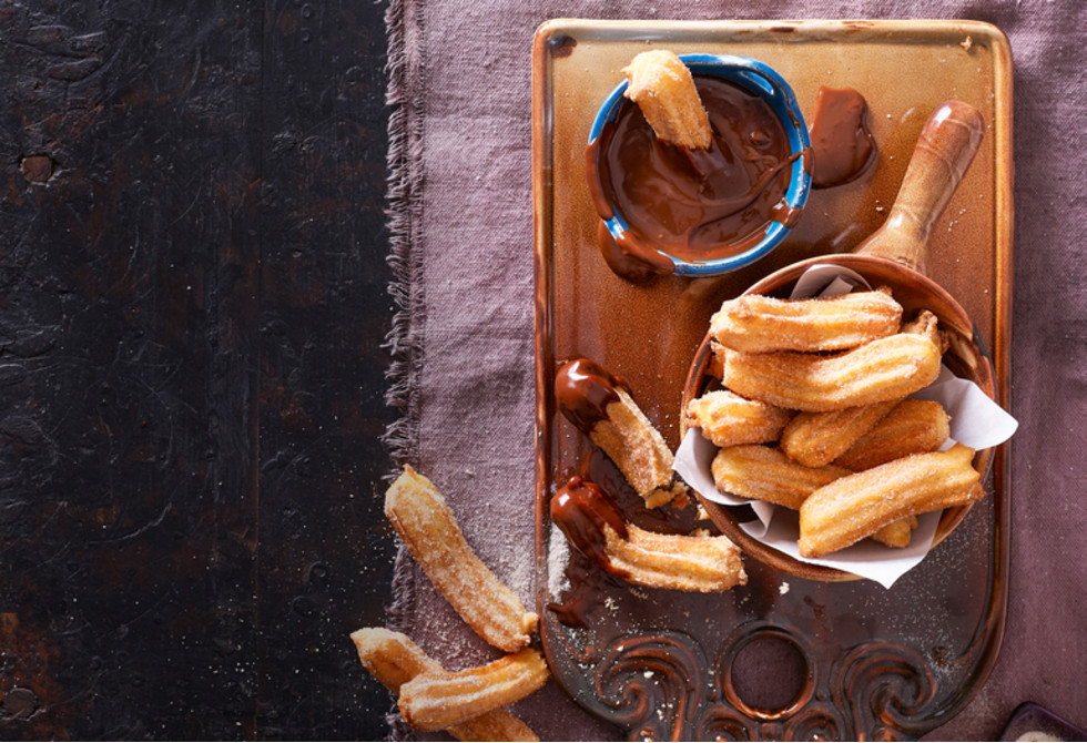 Churros with coffee fudge dipping sauce