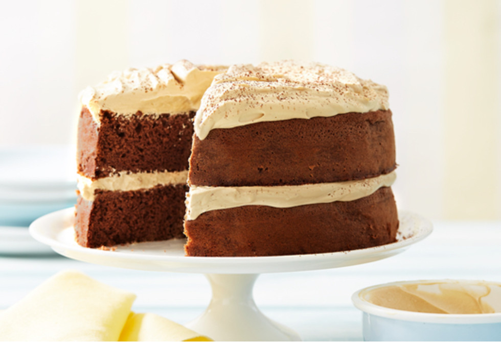 Chocolate sponge cake with coffee cream Recipe Foodiful