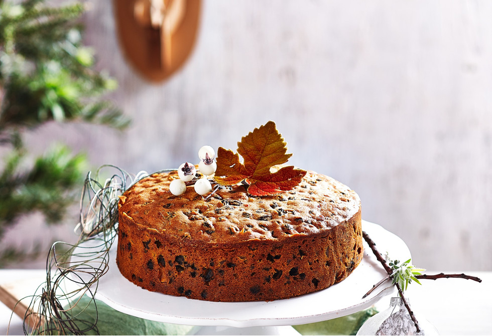 Light pear & brandy fruitcake