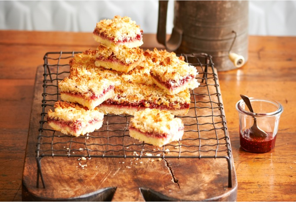 Barb's raspberry coconut slice