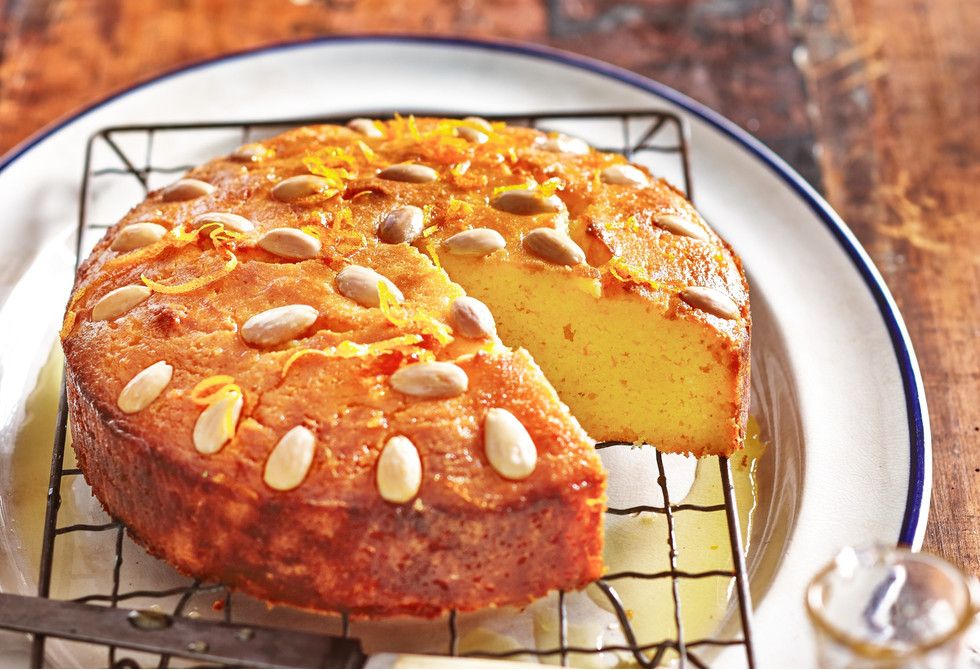 Semolina cake with orange honey syrup