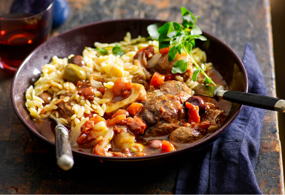 Veal osso buco with olives