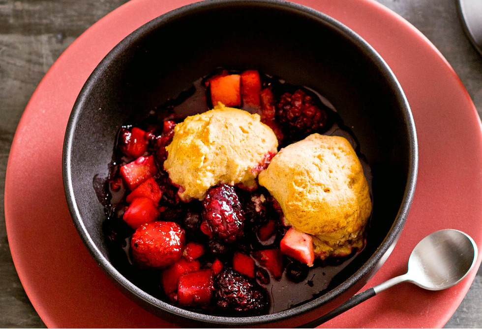 Mixed berry and apple cobbler