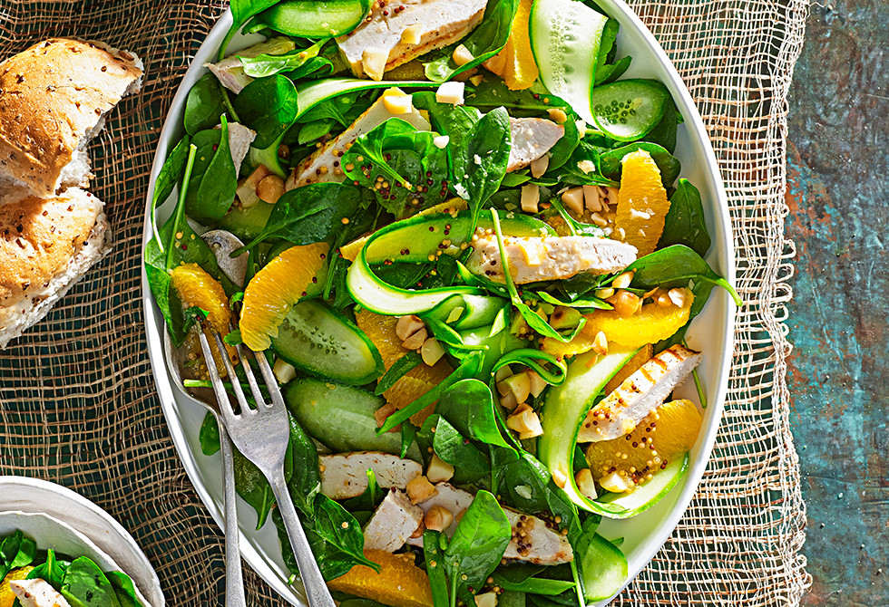 Orange, macadamia and chicken salad