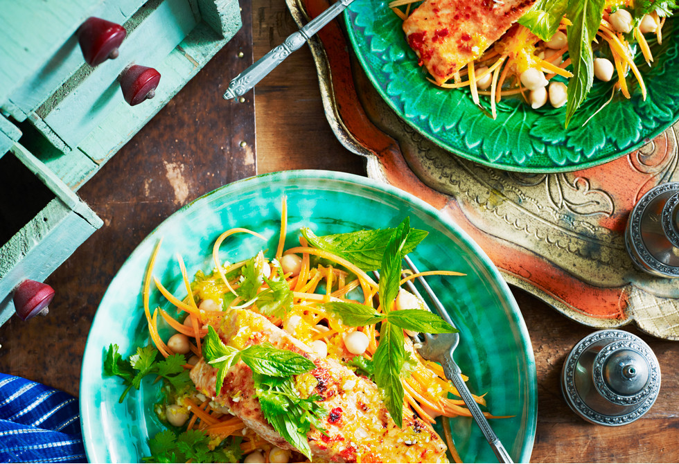 Chargrilled harissa salmon with carrot and orange salad