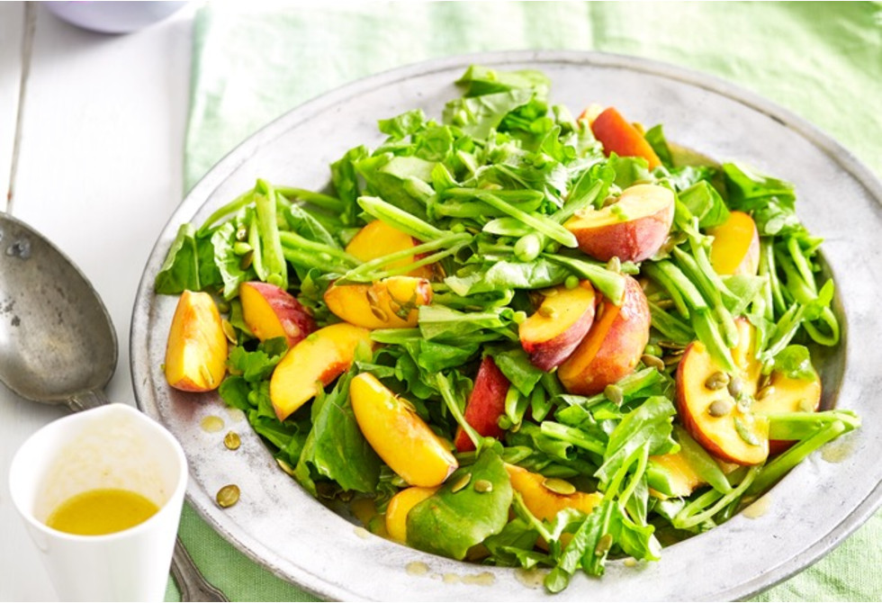 Peach And Rocket Salad With Honey Dressing