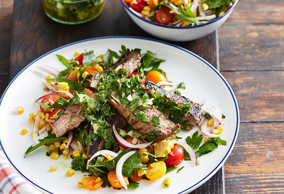 Barbecued steak with charred corn salad Recipe | Foodiful
