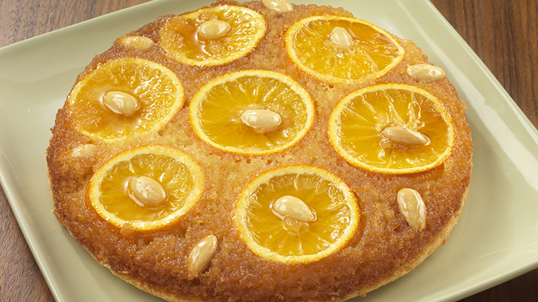 Orange and Almond Upside Down Pudding