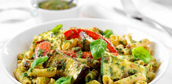 Italian Roasted Vegetable and Fresh Pesto Pasta Recipe