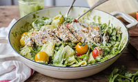Pesto Pasta with Grilled Chicken, Cherry Tomatoes and Rocket