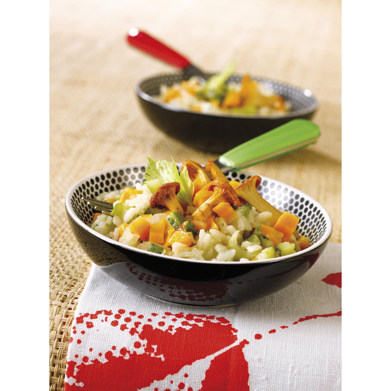 Risotto au poulet, légumes et champignons