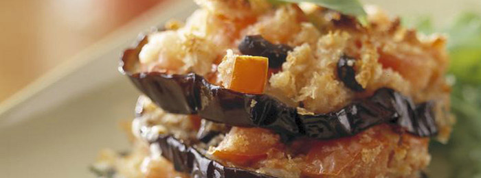 Grilled Aubergine with Cheese & Black Olives
