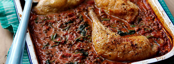 Tray-baked chicken with french lentils