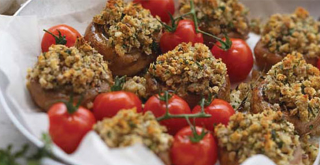 Herb Crumbed Mushroom with Tomatoes