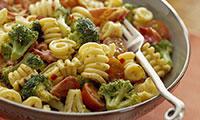 Pasta with broccoli, pesto and chilli