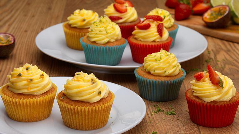 Lemon Cupcakes with Passion Fruit Cream