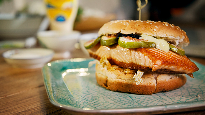 THE SALMON SAMURAI BURGER