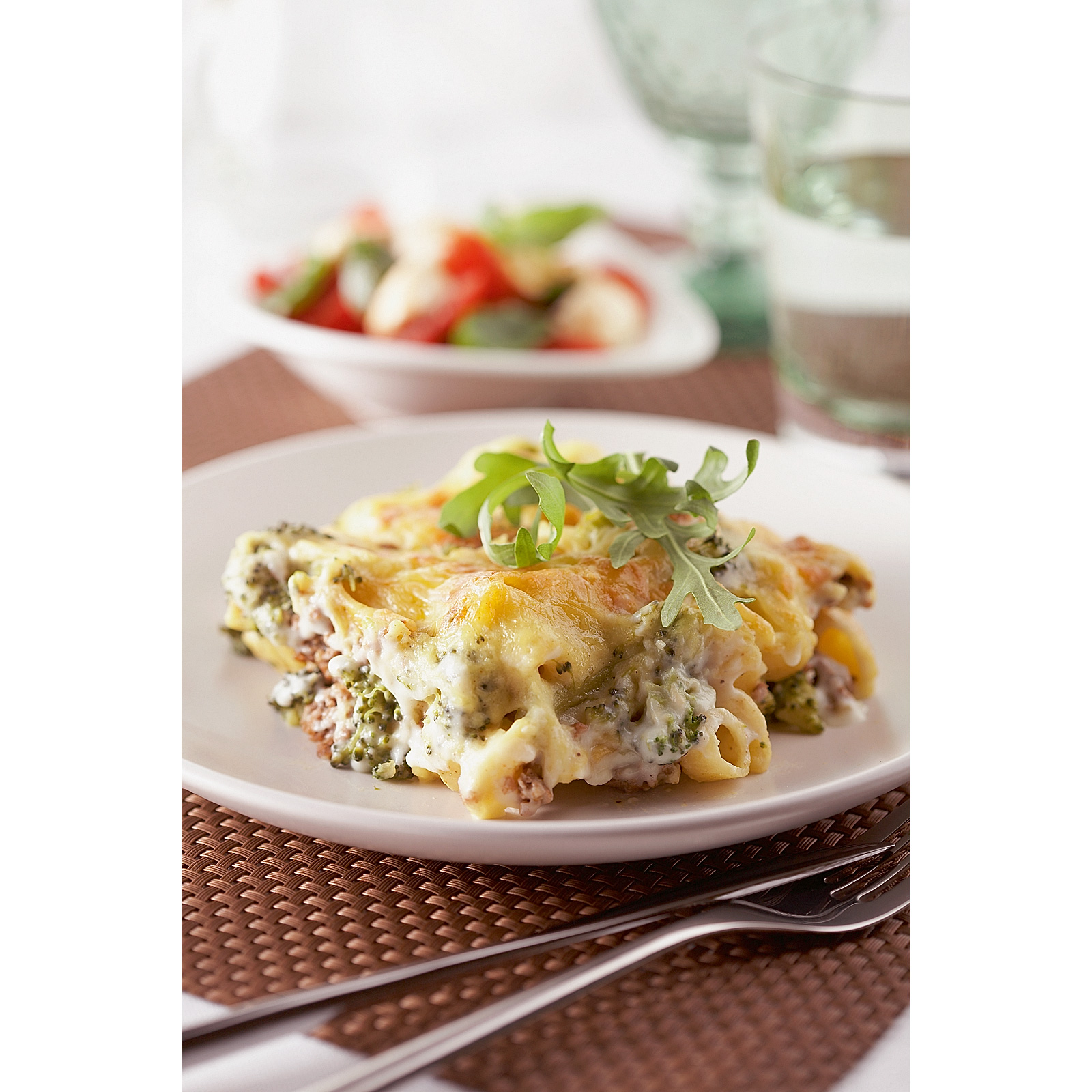 Pasta broccoli gratin