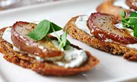 Warm Pear & Blue Cheese Crostini