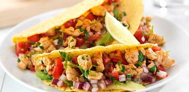 Chicken Tacos with Tomato Salsa and Bean Salad Recipe