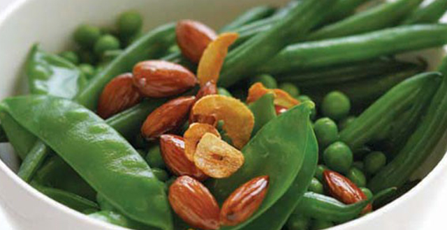 Peas and Beans with Garlic Chips and Almonds