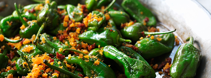 Padrón Peppers with Crispy Chorizo Crumbs