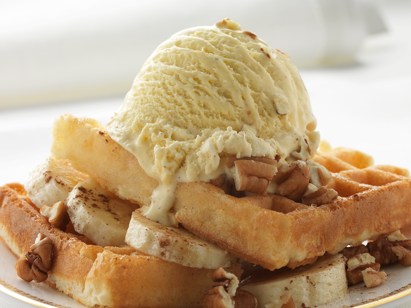 Banana and Cinnamon Waffles with Honeycomb Ice Cream